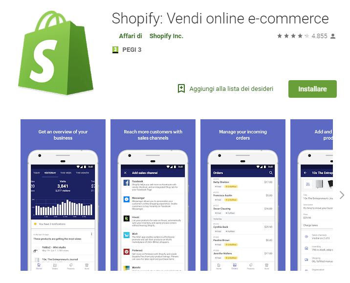 shopify app per smartphone vendere online da telefono gestire ecommerce